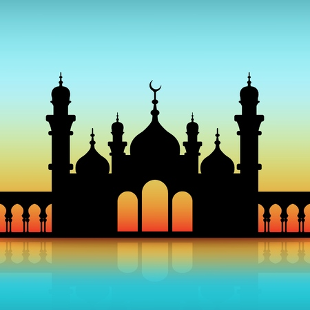 mosque black silhouette on dawn sky. 向量圖像