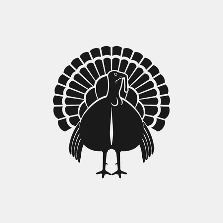 Turkey male silhouette front view. Farm animal icon. vector illustration 向量圖像