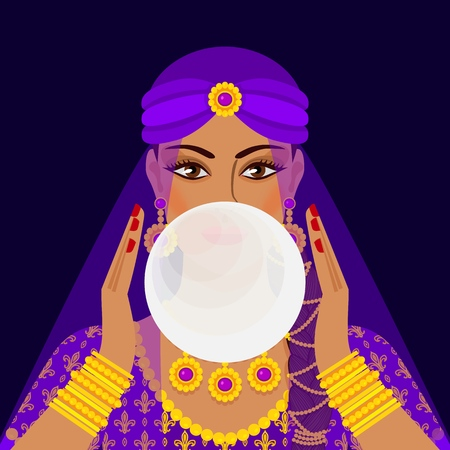 fortune teller with crystal ball. vector illustration