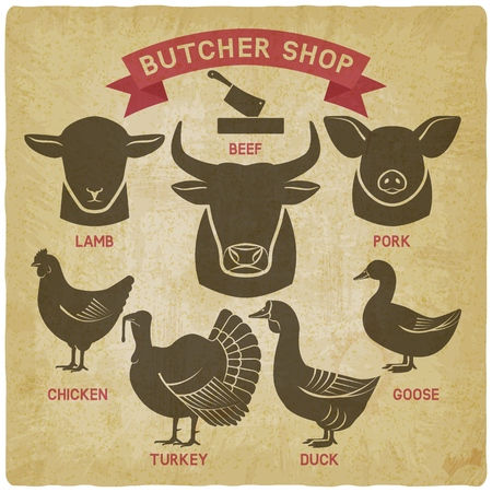 silhouettes of animals set. butcher shop icons vintage background. vector illustration