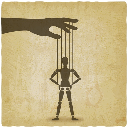 puppet standing with hands on hips vintage background. vector illustration - eps 10 Vectores