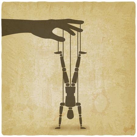 puppet standing on hands upside down vintage background. vector illustration - eps 10