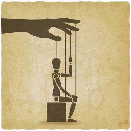títere sentado con su mano sobre fondo vintage. ilustración vectorial - eps 10