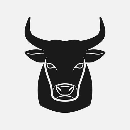 Bull head black silhouette. Farm animal icon. vector illustration Illustration
