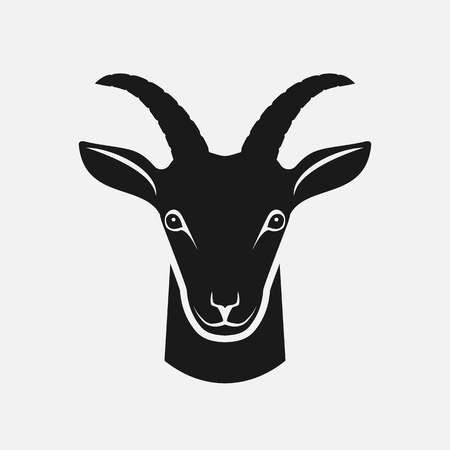 Goat head black silhouette. Farm animal icon. vector illustration Çizim