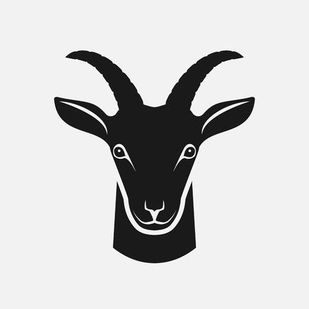 Goat head black silhouette. Farm animal icon. vector illustration Illustration
