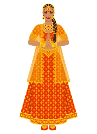 Indian bride in wedding red lehenga dress. vector illustration