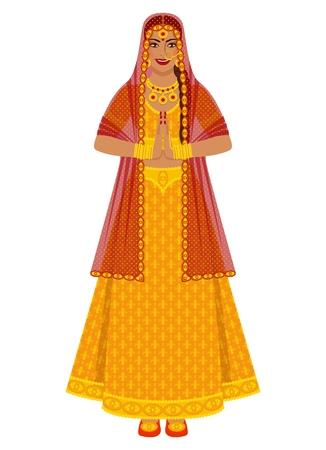 Indian bride in wedding gold lehenga dress. vector illustration