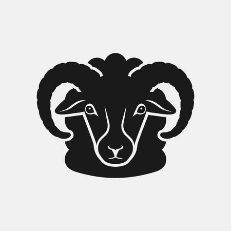 sheep head black silhouette. Farm animal icon. vector illustration