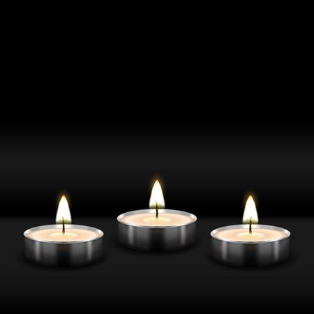 Three tealight burning realistic candles on black background. vector illustration - eps 10
