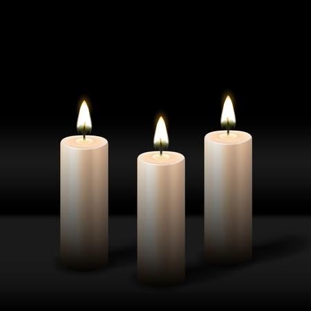 Three burning realistic pillar candle on black background. vector illustration - eps 10