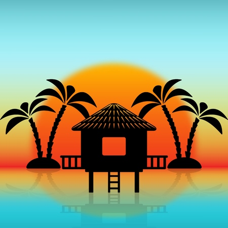 Silhouettes of bungalow and palm trees against rising sun. vector illustration - eps 10