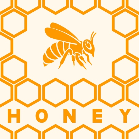 Honey bee silhouette on honeycomb background. vector illustration Illustration