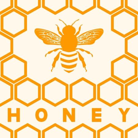 Honey bee silhouette on honeycomb background. vector illustration Vector Illustration