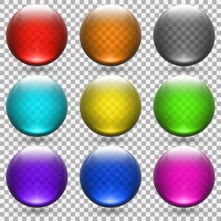 colored transparent glass balls set. vector illustration - eps 10