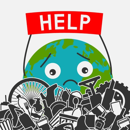 Save the planet concept. Littering planet with human waste. Planet earth asks for help to clear it of garbage. vector illustration - eps 8