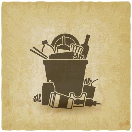trash bin overflowing garbage vintage background. vector illustration - eps 10