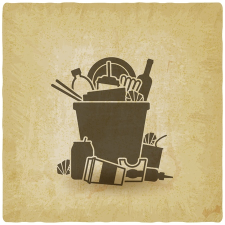 trash bin overflowing garbage vintage background. vector illustration - eps 10