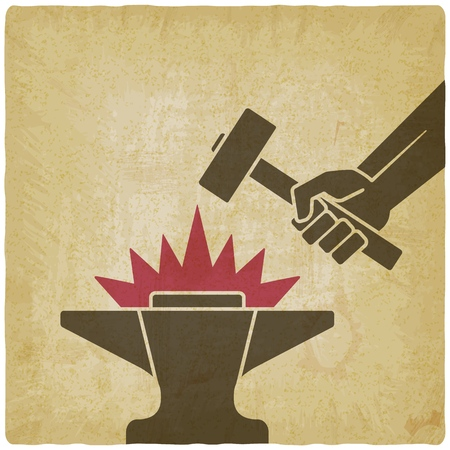 Hand with the hammer above anvil vintage background. vector illustration - eps 10