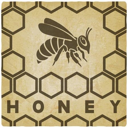 Honey bee on honeycomb vintage background. vector illustration