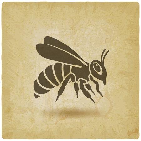 Honey bee silhouette on vintage background. vector illustration