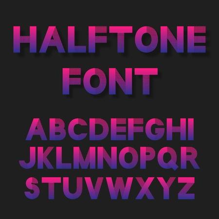 Heldere kleur gestippelde halftoon lettertype. vector illustratie Vector Illustratie