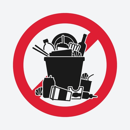 trash bin overflowing garbage. sign do not litter. vector illustration - eps 8