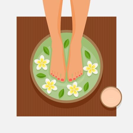Spa foot therapy. Womens feet in bowl with flowers and leaves. Vector illustration