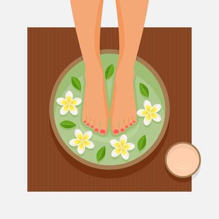 Thérapie des pieds au spa. Pieds de femmes dans un bol avec des fleurs et des feuilles. Illustration vectorielle
