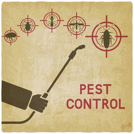 Exterminator with sprayer against cockroaches, mosquitoes, ants, ticks and fleas on vintage background. vector illustration