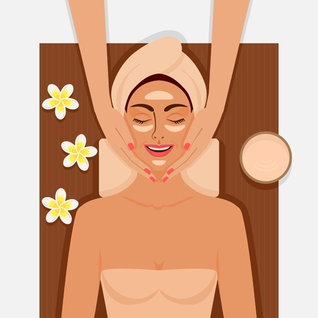 Spa therapy. Girl getting facial massage at spa salon. Vector illustration