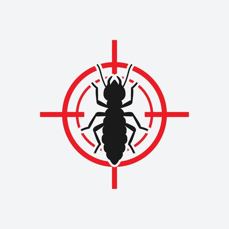 Termite icon red target. Insect pest control sign. Vector illustration Vettoriali