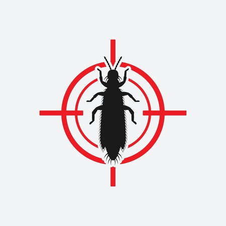 Thrips icon red target. Insect pest control sign. Vector illustration