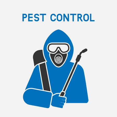 Pest Control Exterminator in protective suit. vector illustration - eps 10