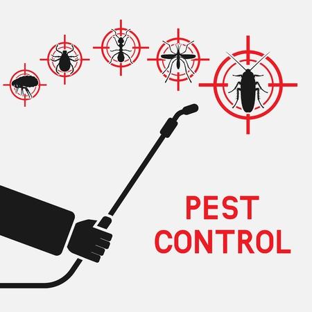 Exterminador con pulverizador contra cucarachas, mosquitos, hormigas, garrapatas y pulgas. ilustración vectorial