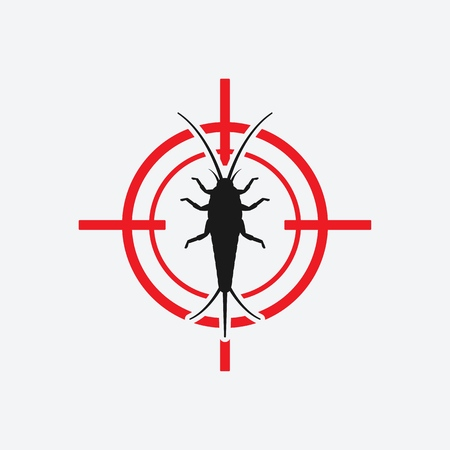 Silverfish icon red target. Insect pest control sign. Vector illustration