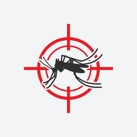 Mosquito icon red target. Insect pest control sign. Vector illustration Banque d'images - 131136002