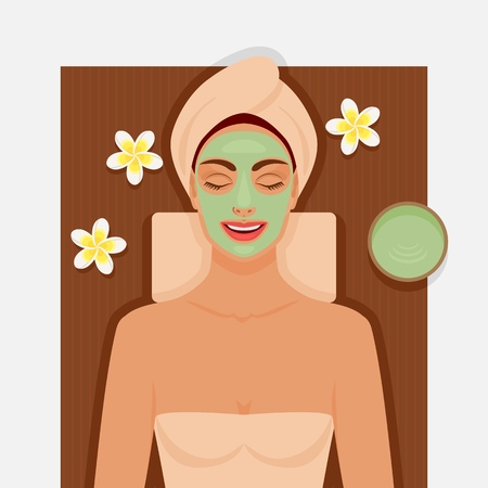 Spa therapy. Girl with green facial mask. Vector illustration