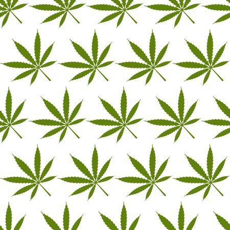Marijuana leaves geometric seamless pattern on white background. Vector illustration