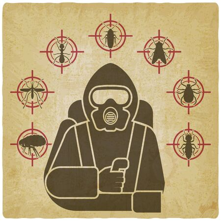 Pest Control Exterminator in protective suit silhouette surrounded by insect pest icons on vintage background