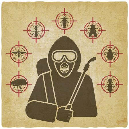 Exterminator with sprayer silhouette surrounded by insect pest icons on vintage background