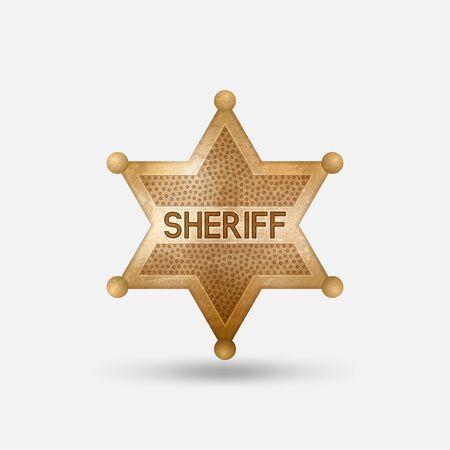 Vintage bronze badge. Sheriff star. Vector illustration Illustration