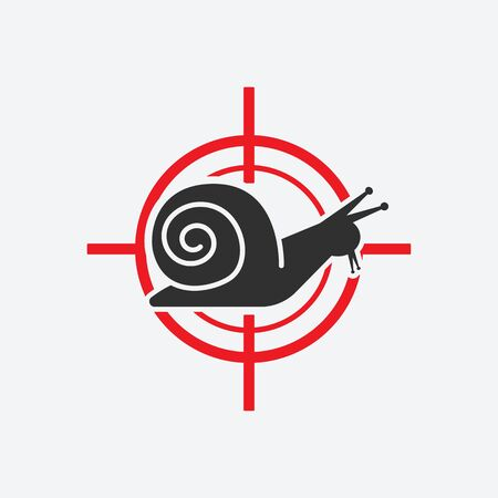 Snail silhouette. Animal pest icon red target