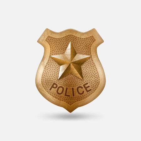 Vintage bronze Police badge with star