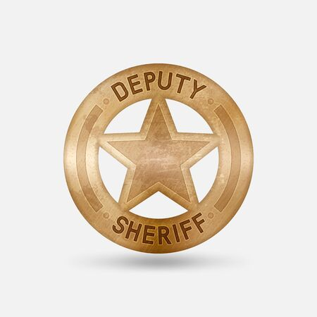 Vintage bronze badge. Deputy sheriff star. Vector illustration