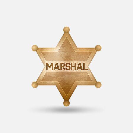 Vintage bronze badge. Marshal star. Vector illustration