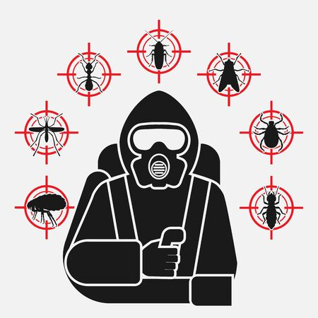 Exterminador de control de plagas en silueta de traje protector rodeado de iconos de plagas de insectos