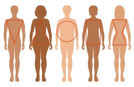 Five female silhouettes. Types of female figures