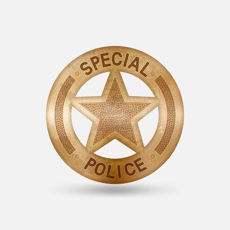 Vintage bronze badge. Special police star. Vector illustration
