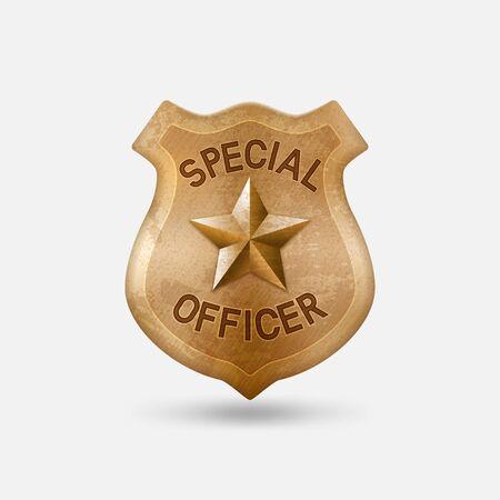 Vintage bronze Special officer badge with star Illustration